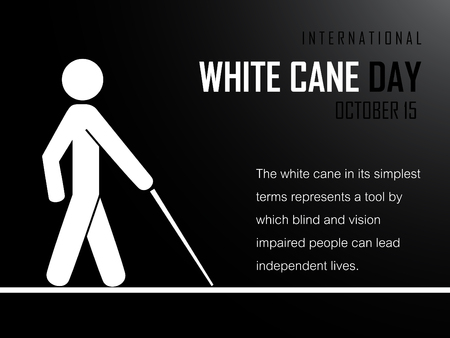 Man with cane on black background. International White Cane Day on October 15 Background. Vector illustration.