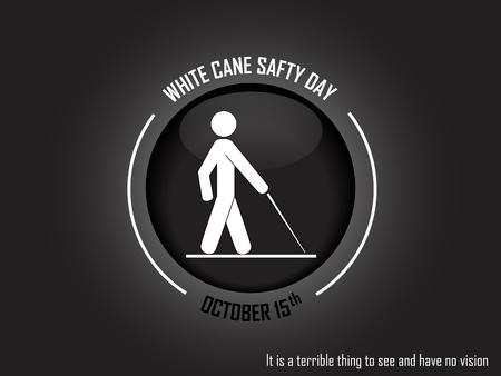 Man with cane on black background. Vector illustration. International White Cane Day on October 15 Background