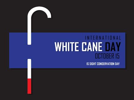 White cane on black background. Vector illustration. International White Cane Day on October 15 Background