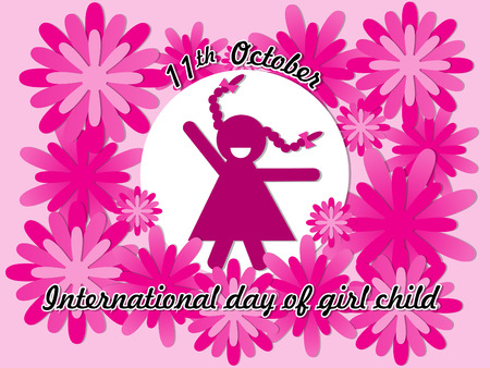 International Day of Girl Child on October 11 background.