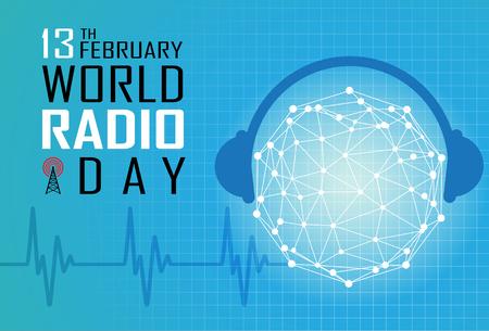 World Radio Day on February 13 Background Stock fotó - 95138996