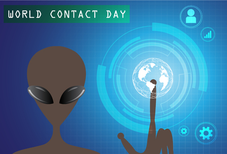 World Contact Day Vector illustration with alien pointing to earth.