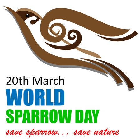 World Sparrow Day, 20th March with sparrow vector illustration. Иллюстрация