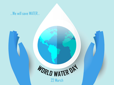 World Water Day on March 22 Background with hands illustration.