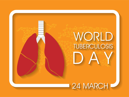 world tuberculosis day banner with text and lungs on orange background. Vector illustration. Stock fotó - 97962194