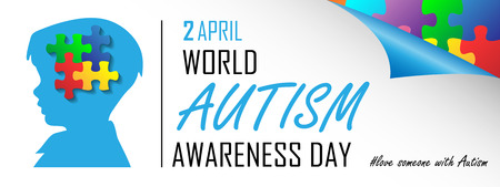 World Autism Awareness day poster with child and puzzle design. Illusztráció