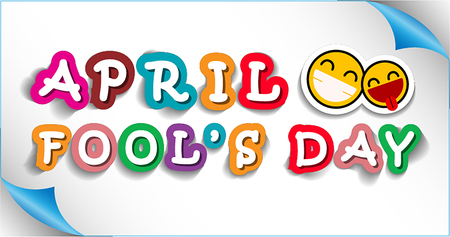 April Fools Day banner with colorful text and smiley faces emoticons. Vector illustration. Illusztráció