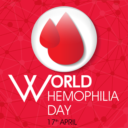 World hemophilia day with blood drops illustration.