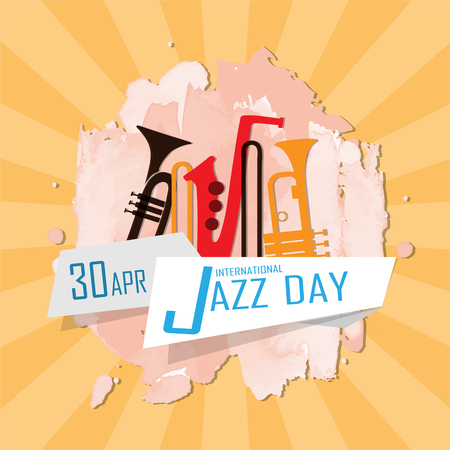 International Jazz Day with musical instrument illustration.