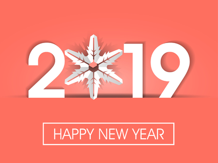 Happy New Year 2019 coral tone background
