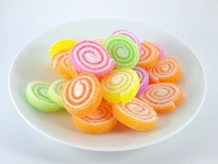 gelatin: marshmallow with gelatin dessert      Stock Photo
