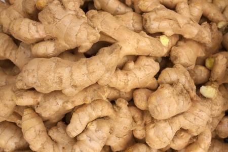 heap of ginger in market