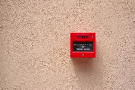 sprinkler alarm: fire alarm switch on the wall