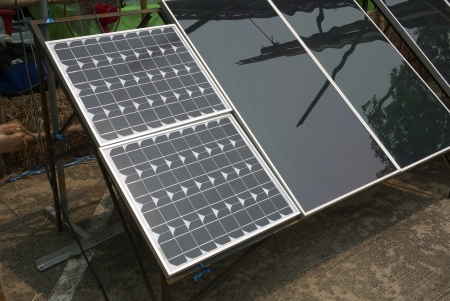 solarcells operating to produce electricity photo
