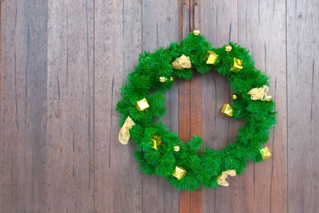 garland on wooden door  photo