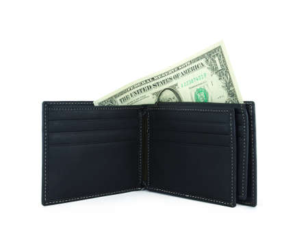 new black wallet with dollar on white background photo