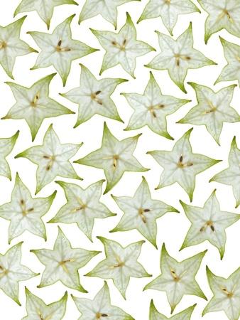sliced green star fruit isolated on white background Reklamní fotografie