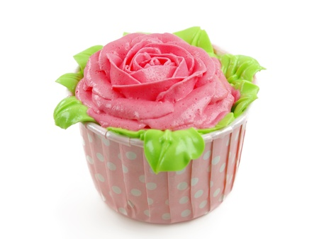 isolated spot: cup-cake with pink rose shape
