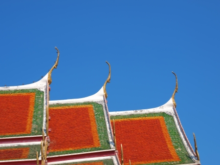 roof of temple buddha in thailand
