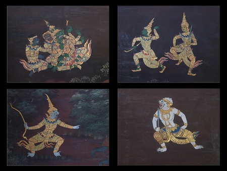 ramayana painting set on the wall of temple in thailand  photo