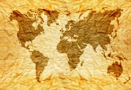 worldmap: worldmap on old wrinkle paper  Stock Photo