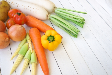 mixed vegetable on white wooden table