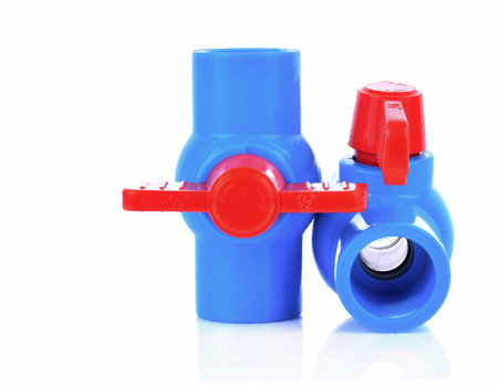 Plastic water pipe on white background Standard-Bild