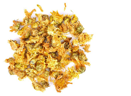 Dried Chrysanthemum flowers on a white background Stock Photo