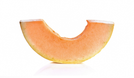 A piece of Cantaloupe on white background 版權商用圖片