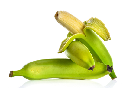banana skin: Banana on a white background Stock Photo