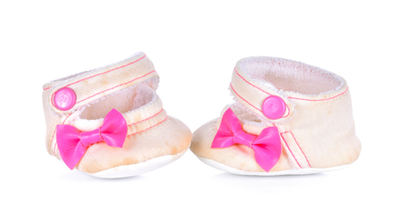 Childrens shoes on white background Stock Photo