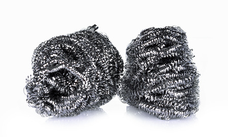 Steel wool on white background Banco de Imagens - 90994907