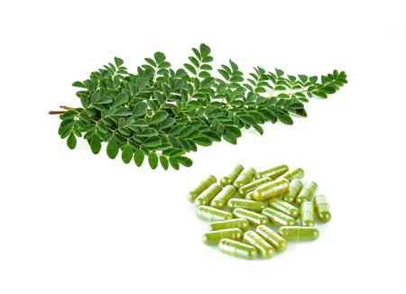 Moringa leaves on white background Stock Photo - 96253880