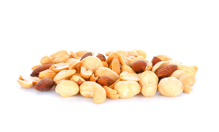 salted cocktall nuts on white background