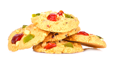 Fruit cookies on white background