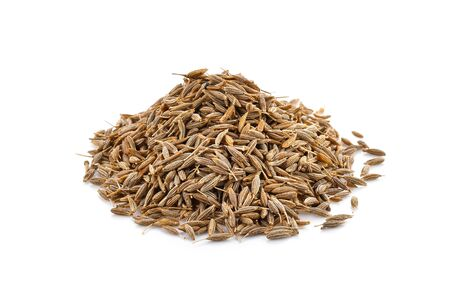 caraway seeds on white background Stock Photo