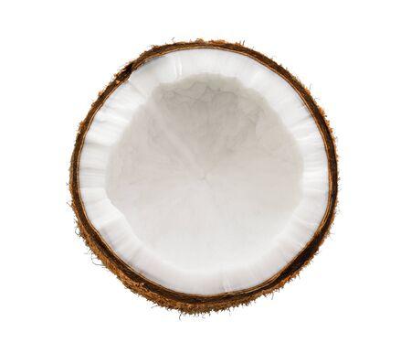 Kokosnussscheibe auf weißem Hintergrund