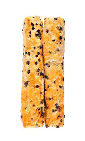 Chocolate chip stick on white background