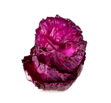 Purple cauliflower leaves isolated on white background
