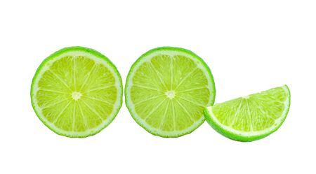 Lemon slices on white background Stock Photo