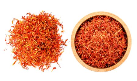 Safflower dried on white background Stock Photo
