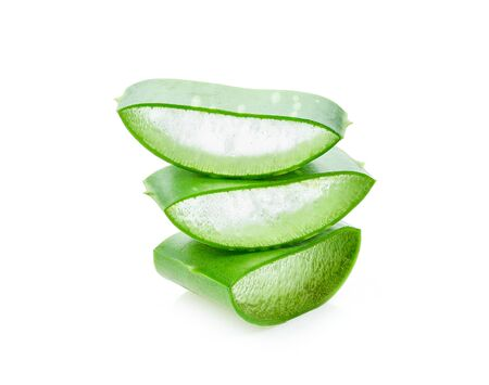 Aloe vera slice on white background Stock Photo