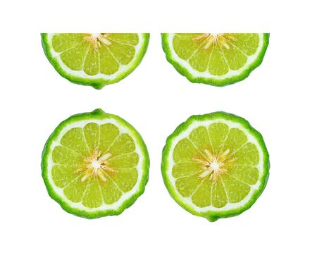 Bergamot slice on white background