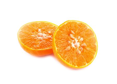 orange sliced on white background