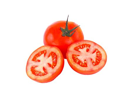 piece tomato on white background