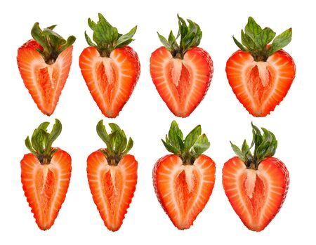 Strawberry Pieces on white background