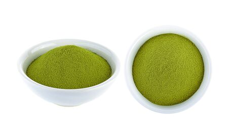 Powdered green tea on white background