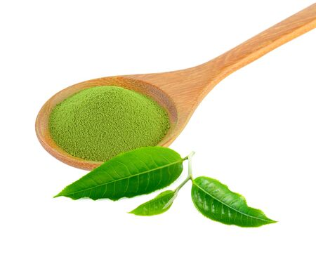 Green tea powder in a wooden spoon on a white background Banco de Imagens