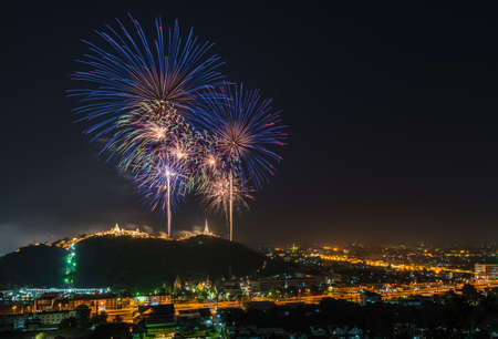 blowup: Firework over the mountain between the city