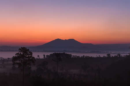 faintly visible: Before sunrise above the mountain and misty forest on the morning. Stock Photo
